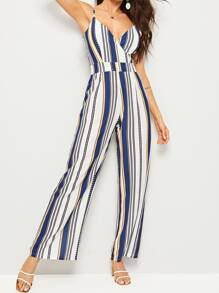 Deep V Neck Striped Cami Jumpsuit