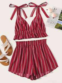 Tie Strap Bustier Striped Top & Shorts Set