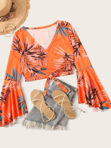 Tropical Print Tie Front Wrap Blouse