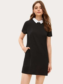 Contrast Collar A-line Dress