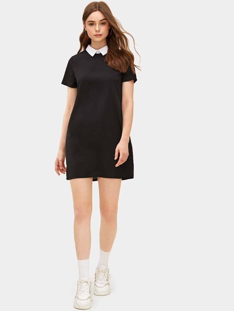 Vestido Línea A De Cuello En Contraste
