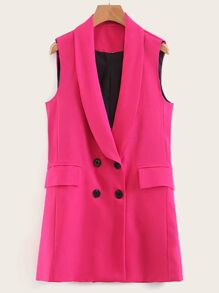 Flap Pocket Double Button Vest Blazer