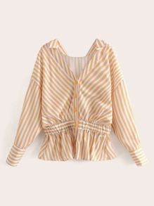 Striped Print Button Front Ruffle Hem Blouse