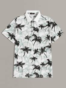 Men Coconut Tree Print Polo Shirt