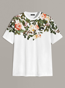 Men Botanical Print Tee