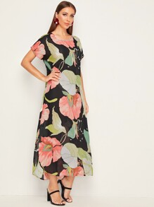 Botanical Print Self Belted Curved Hem Dress