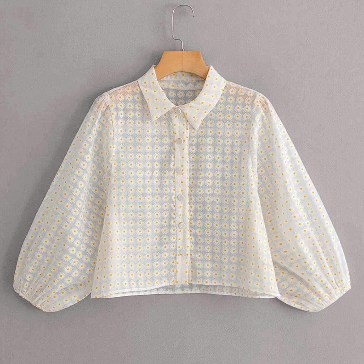 Прозрачная сетчатая блуза с цветочным принтом