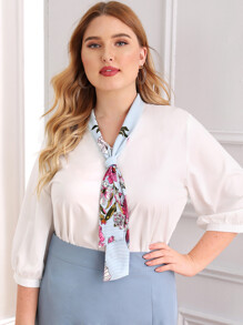 Plus Floral Print Tie Neck Blouse