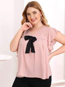 Plus Bow Front Butterfly Sleeve Blouse
