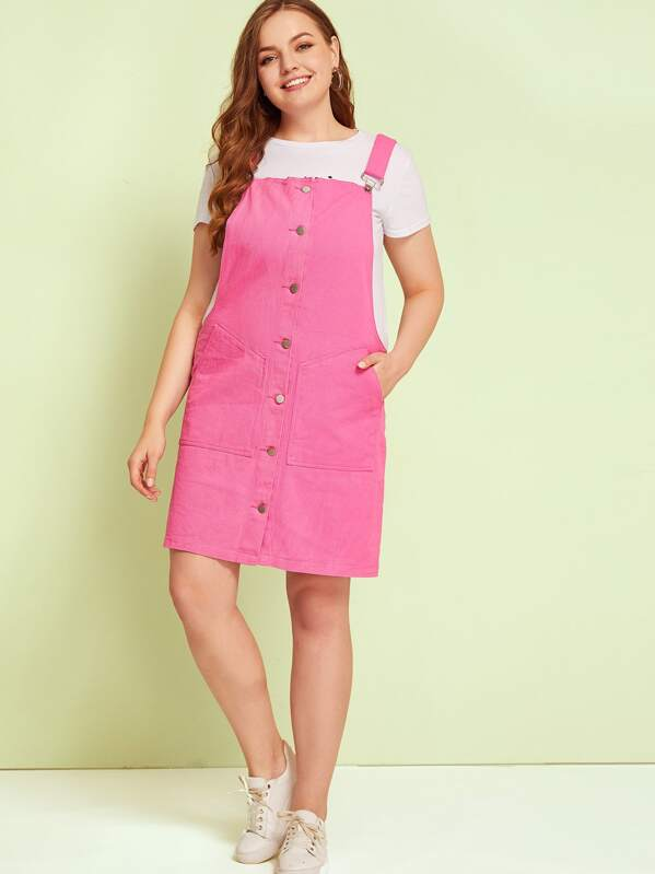 2019 wholesale price official store enjoy free shipping Plus Button Front Pocket Side Dungaree Dress