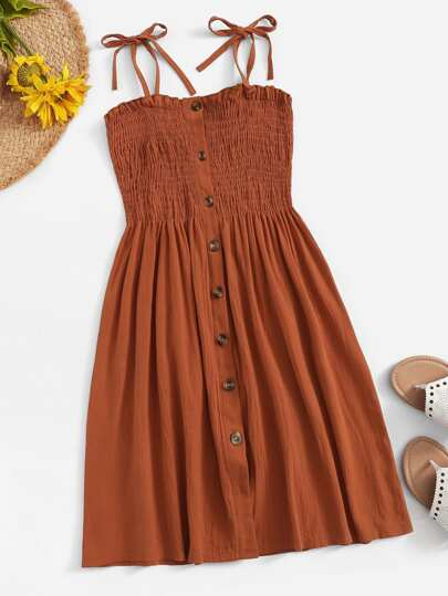 Plus Self Tie Shoulder Button Front Lettuce Frill Shirred Dress