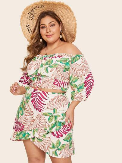 072196cd9295 Plus Tropical Print Off Shoulder Lettuce Frill Crop Top With Asymmetrical  Hem Skirt