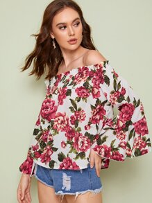 Large Floral Print Frill Trim Bardot Top