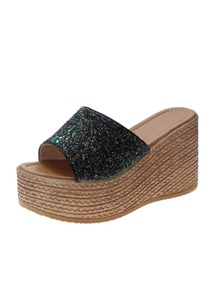 Open Toe Glitter Espadrille Wedges