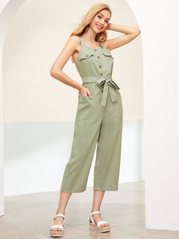 95bba91ca1 Solid Double Pocket Belted Cargo Jumpsuit
