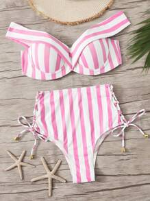 Striped Underwire Top With Lace Up Bikini Set