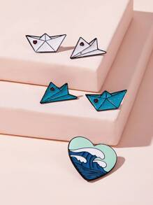 Glitter Boat & Airplane Design Brooch Set 5pcs