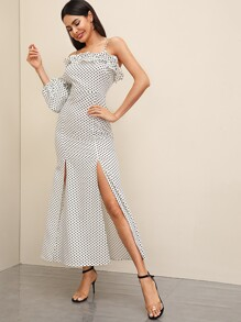Polka-dot Bishop Sleeve Frill M-slit Hem Dress