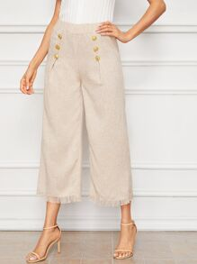 Raw Hem Button Detail Wide Leg Capris Pants