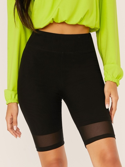 High Waist Mesh Overlay Cycling Shorts