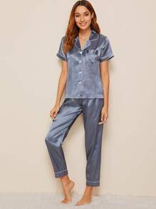 Heart Embroidered Button-up Satin Pajama Set