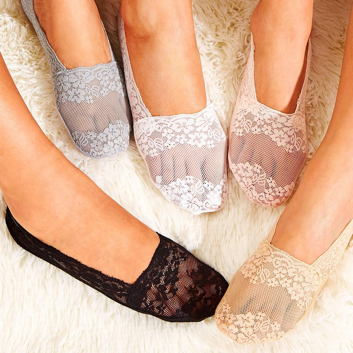 SHEIN coupon: Solid Lace Invisible Socks 5pairs