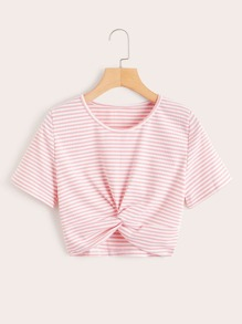 Twist Front Rib Knit Striped Tee