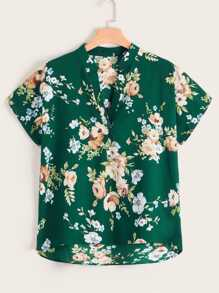 Plus Floral Print Dip Hem Notched Blouse