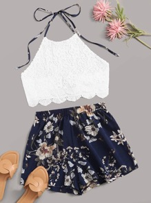 Guipure Lace Scallop Halter Top With Floral Print Shorts