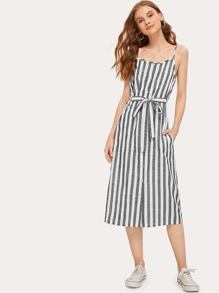 Striped Button & Tie Front Cami Dress