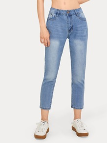 Button Waist Solid Basic Jeans