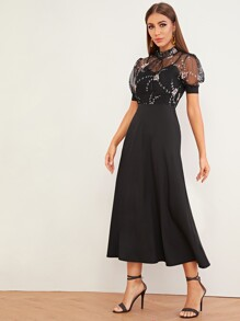 Embroidery Mesh Contrast Frill Neck Dress
