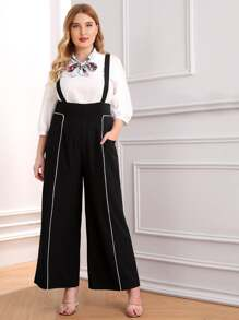 Plus Contrast Trim Wide Leg Pants
