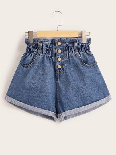Plus Button Front Cuffed Hem Denim Shorts