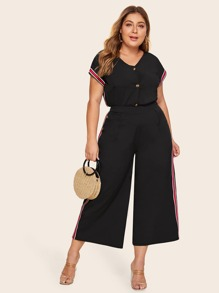 Plus Tape Contrast Button Front Top & Wide Leg Pants Set
