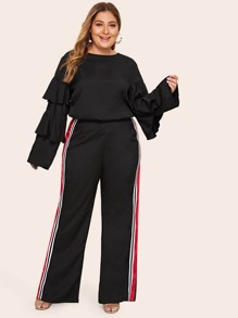 Plus Solid Layered Sleeve Top & Tape Contrast Pants Set