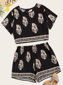 Plus Tribal Print Tee & Shorts Set