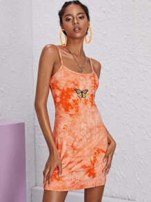 Butterfly Embroidery Tie Dye Cami Dress