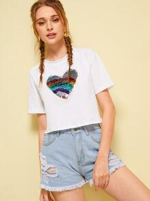 Contrast Colorful Sequin Heart Tee