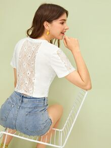 Contrast Lace Back Crop Tee
