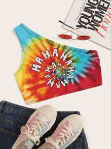Letter Print Tie Dye One Shoulder Crop Top