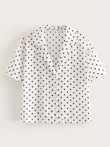Polka Dot Print Button Front Notch Blouse