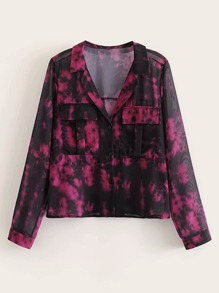 Flap Pocket Tie Dye Blouse