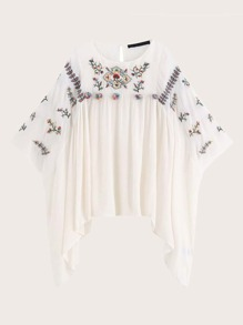 Floral Embroidery Asymmetrical Hem Cover Up