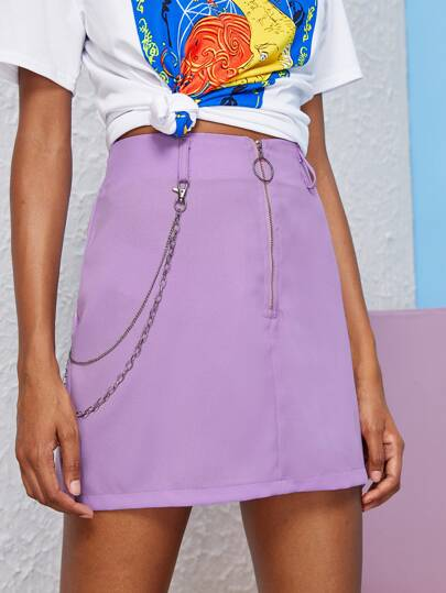 Chain O-ring Zip Up Skirt