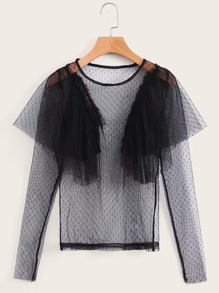 Contrast Ruffle Sheer Mesh Top