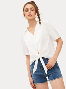 Button Front Knot Hem Notch Neck Blouse