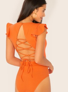 Neon Orange Lace Up Tie Back Ruffle Armhole Bodysuit