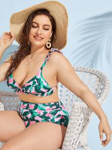 Plus Tropical Frill Hem Bikini Set