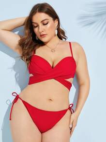 Plus Wrap Top With Tie Side Bikini Set